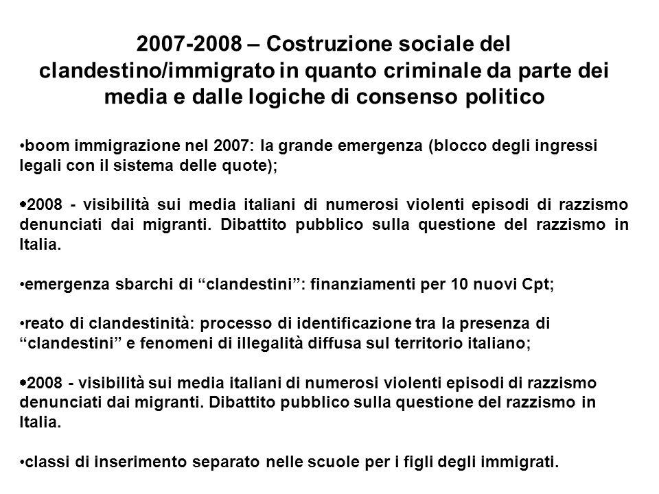 2007-2008 – Costruzione sociale del clandestino/immigrato in quanto criminale da parte dei media e dalle logiche di consenso politico