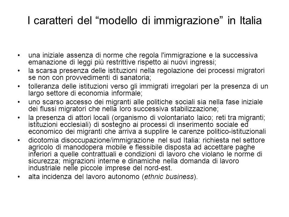 I caratteri del modello di immigrazione in Italia
