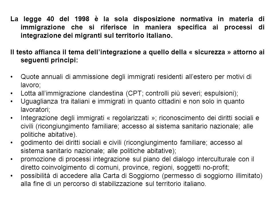 La legge 40 del 1998 è la sola disposizione normativa in materia di immigrazione che si riferisce in maniera specifica ai processi di integrazione dei migranti sul territorio italiano.