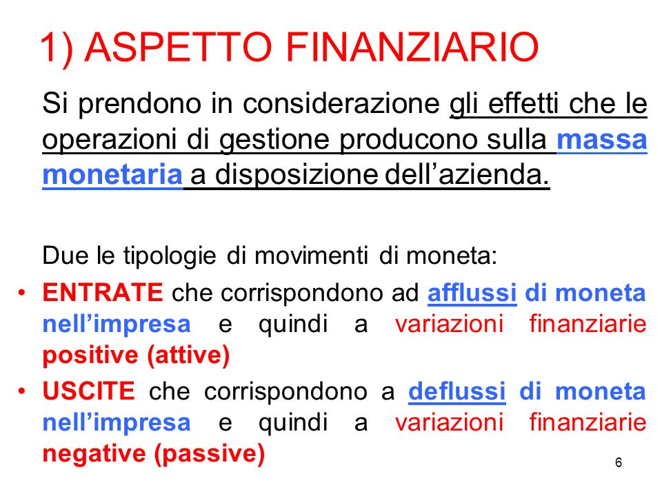 1) ASPETTO FINANZIARIO