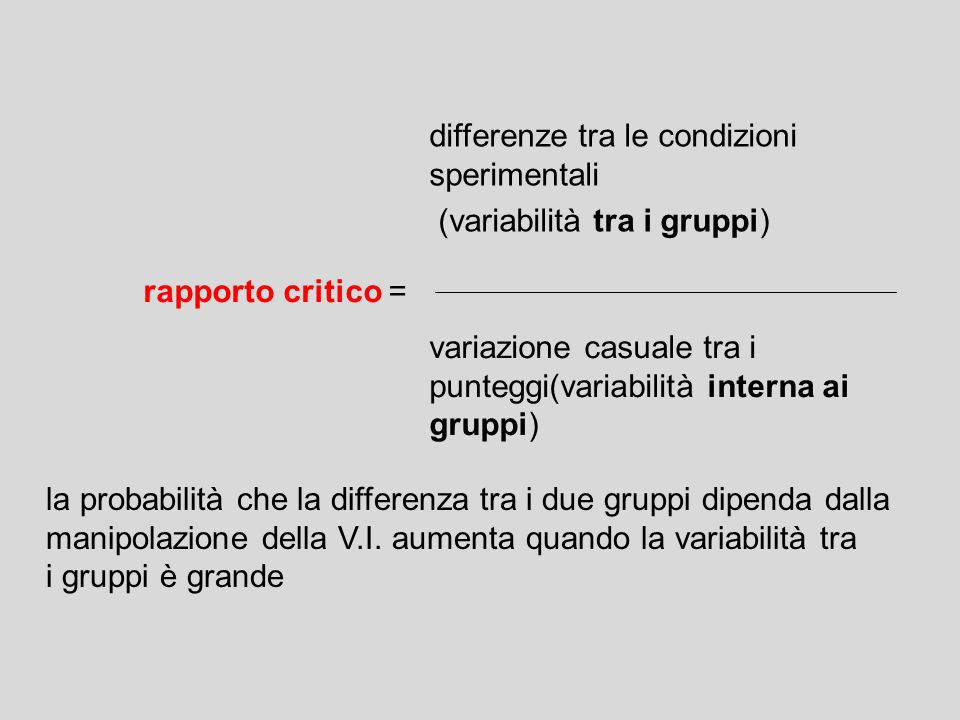 differenze tra le condizioni sperimentali