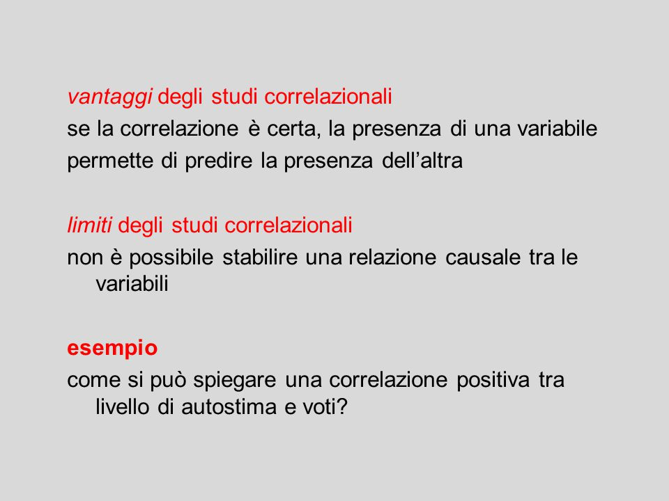 vantaggi degli studi correlazionali