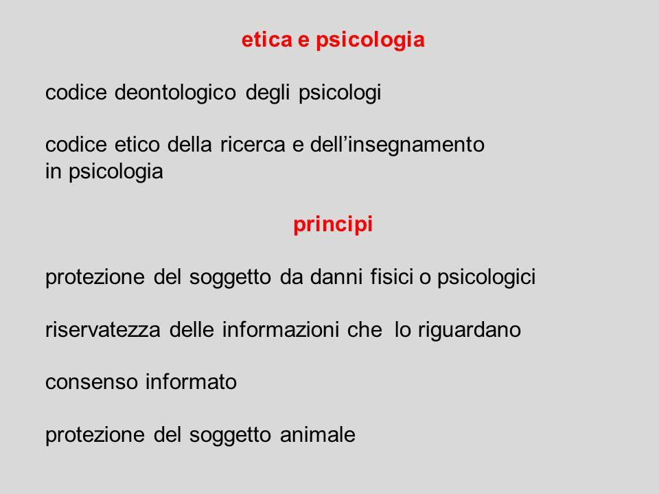etica e psicologia codice deontologico degli psicologi. codice etico della ricerca e dell'insegnamento.