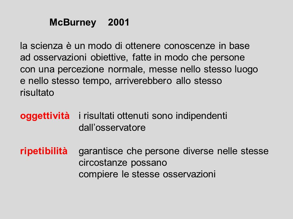 McBurney 2001 la scienza è un modo di ottenere conoscenze in base. ad osservazioni obiettive, fatte in modo che persone.