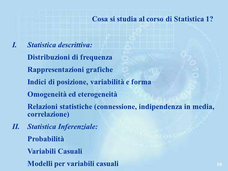 Cosa si studia al corso di Statistica 1