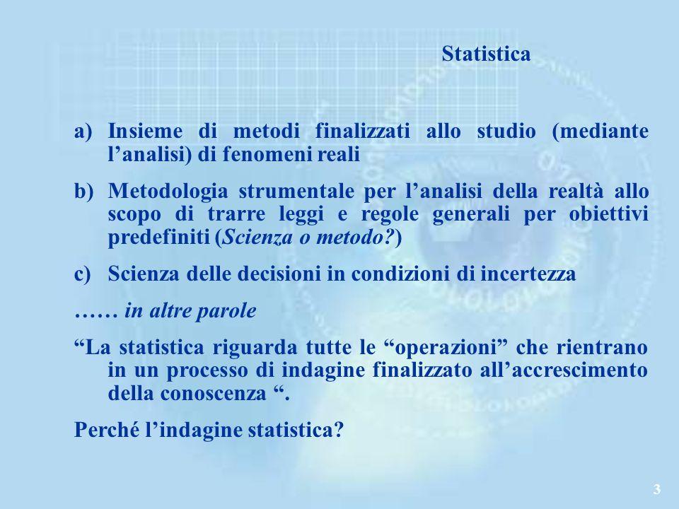 Statistica Insieme di metodi finalizzati allo studio (mediante l'analisi) di fenomeni reali.