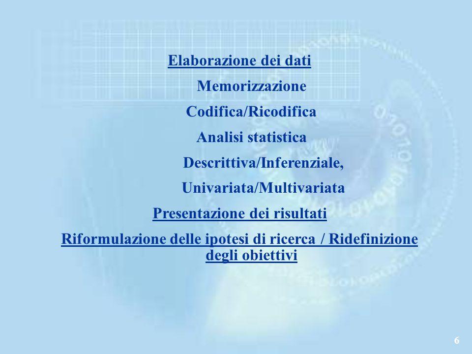 Descrittiva/Inferenziale, Univariata/Multivariata