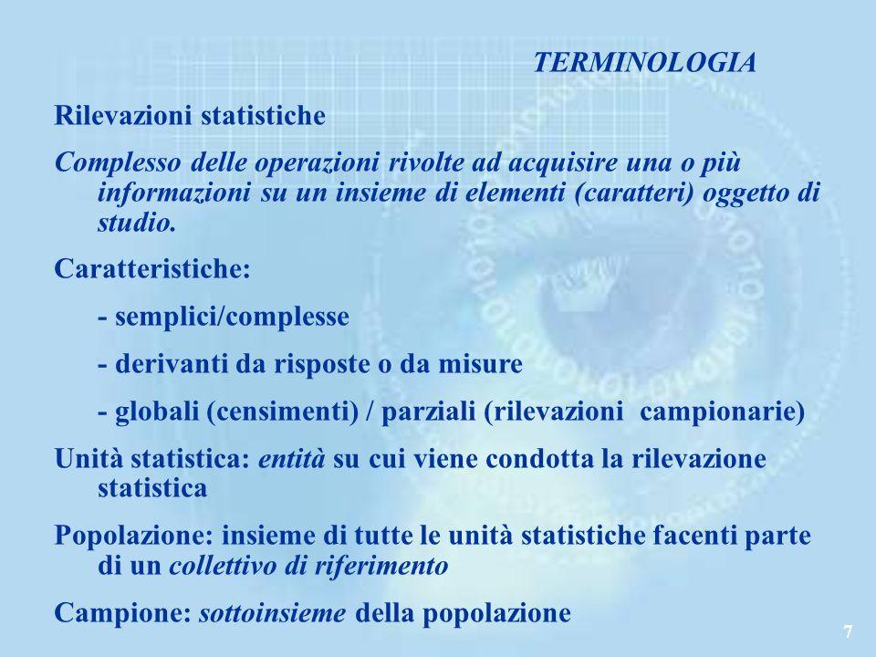 TERMINOLOGIA Rilevazioni statistiche.
