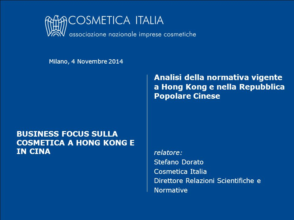 business focus sulla Cosmetica a Hong Kong e in Cina