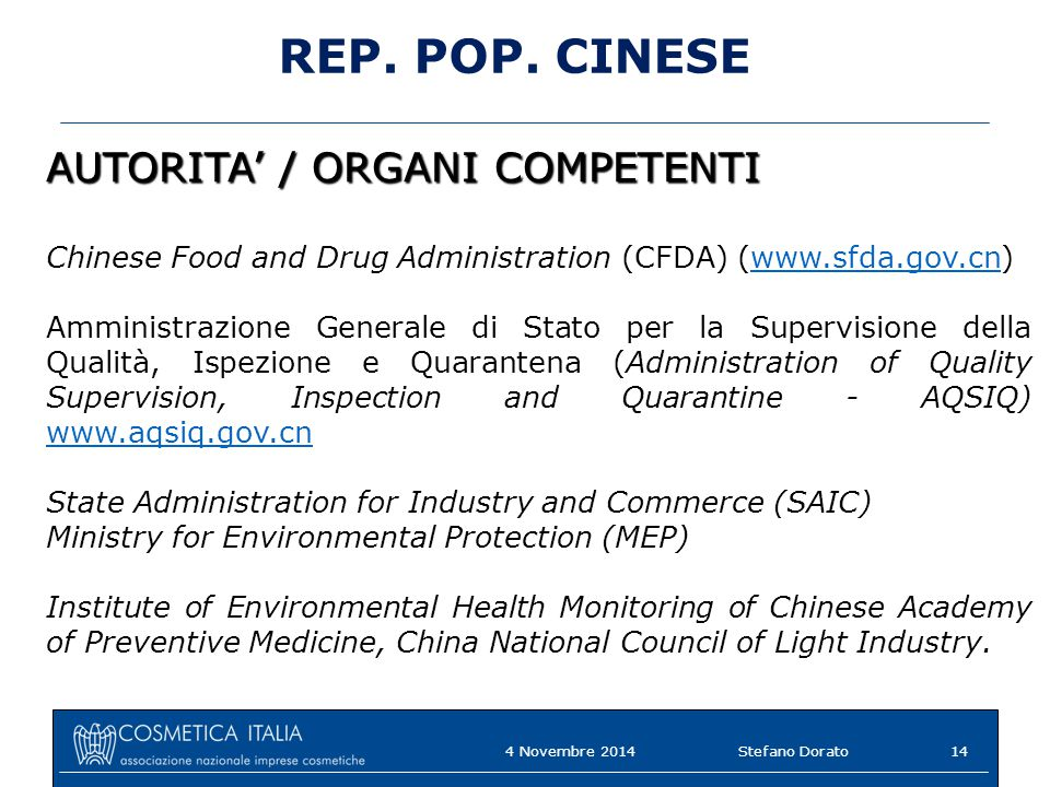 REP. POP. CINESE AUTORITA' / ORGANI COMPETENTI
