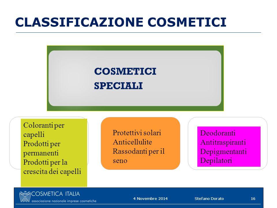 CLASSIFICAZIONE COSMETICI
