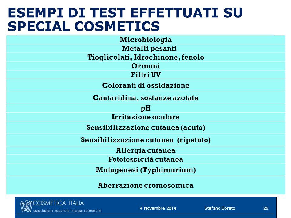 ESEMPI DI TEST EFFETTUATI SU SPECIAL COSMETICS