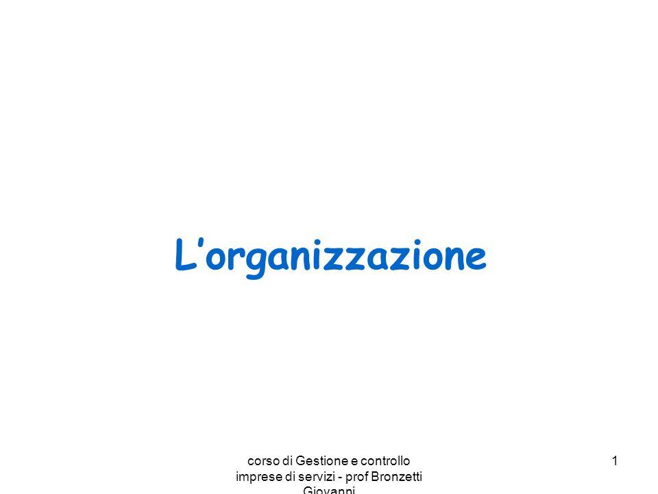 L'organizzazione corso di Gestione e controllo imprese di servizi - prof Bronzetti Giovanni.