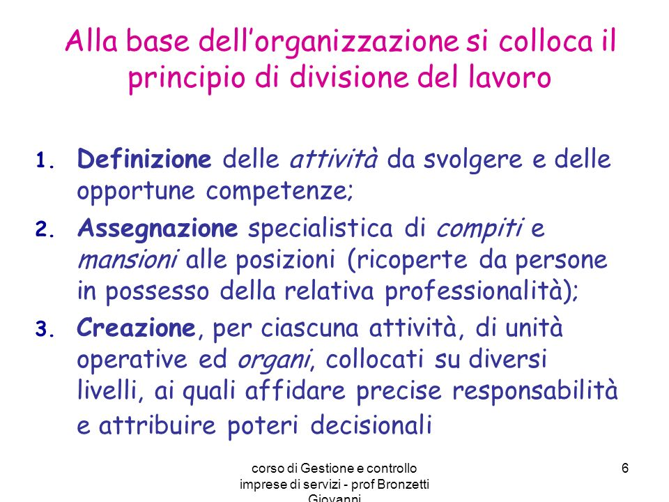 Alla base dell'organizzazione si colloca il principio di divisione del lavoro