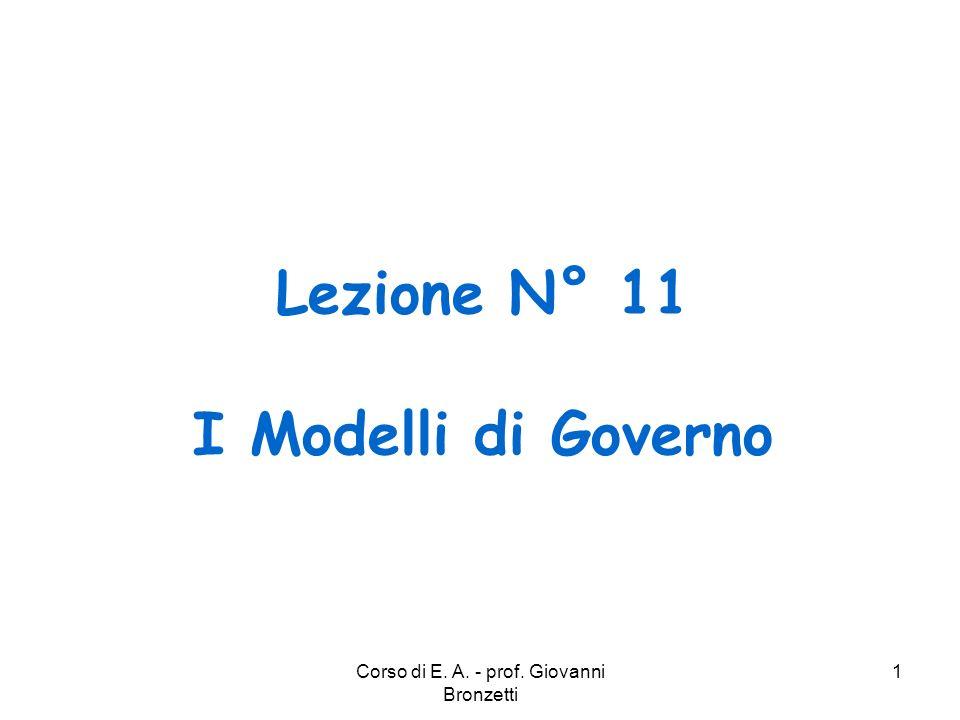 Lezione N° 11 I Modelli di Governo