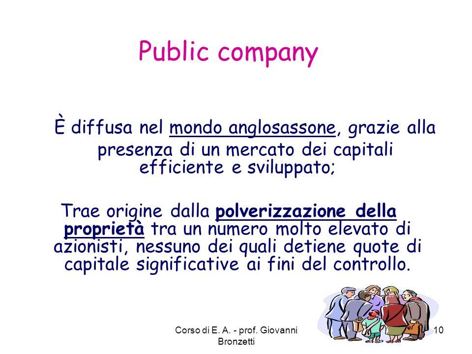 Public company È diffusa nel mondo anglosassone, grazie alla