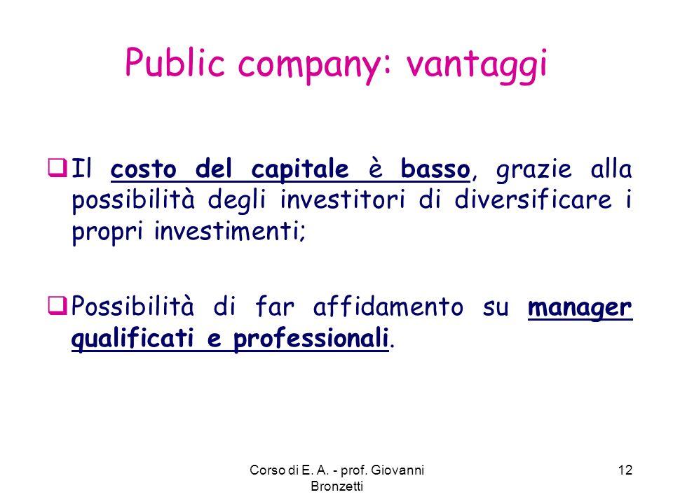 Public company: vantaggi