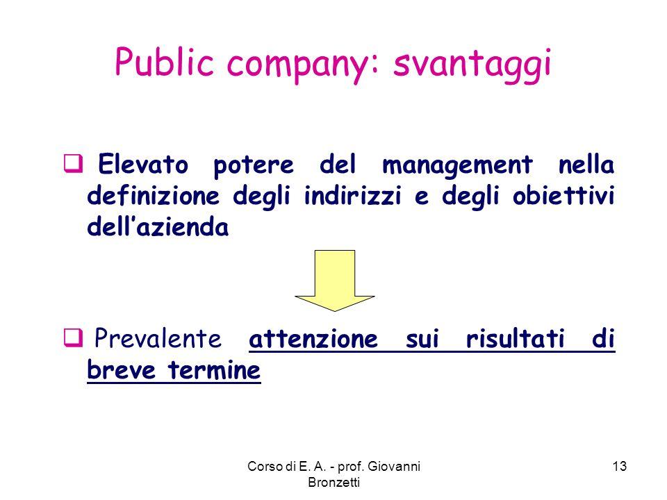 Public company: svantaggi