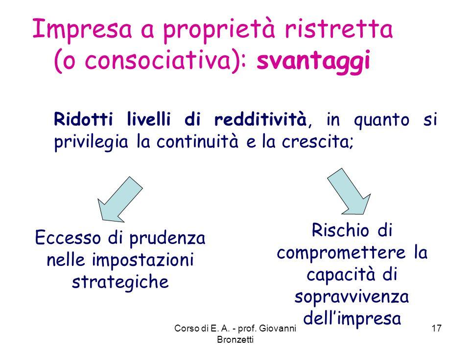 Impresa a proprietà ristretta (o consociativa): svantaggi