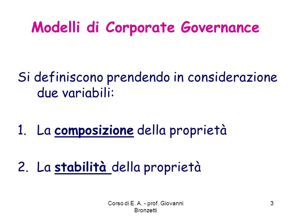 Modelli di Corporate Governance