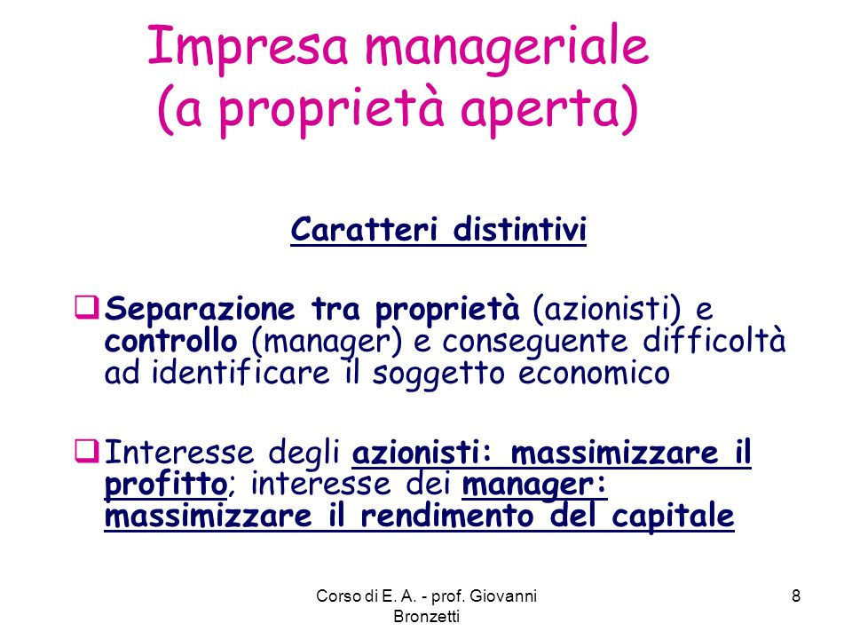 Impresa manageriale (a proprietà aperta)