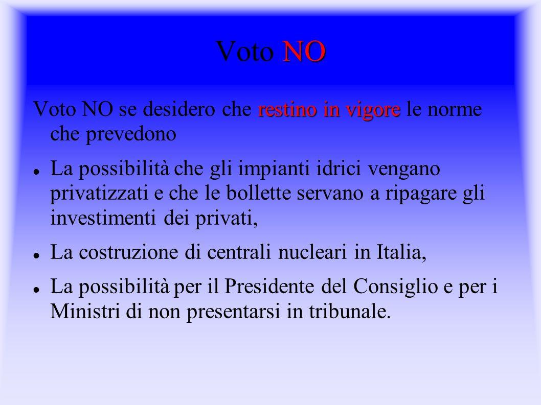 Voto NO Voto NO se desidero che restino in vigore le norme che prevedono.