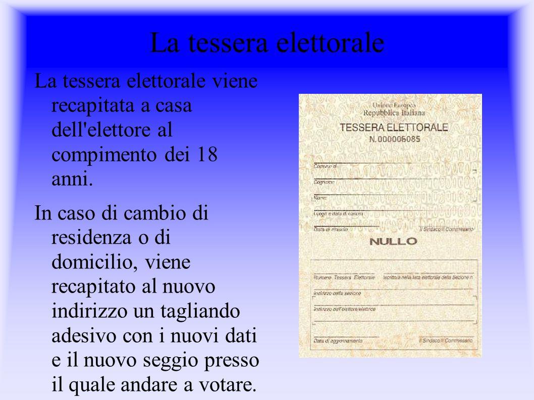La tessera elettorale La tessera elettorale viene recapitata a casa dell elettore al compimento dei 18 anni.