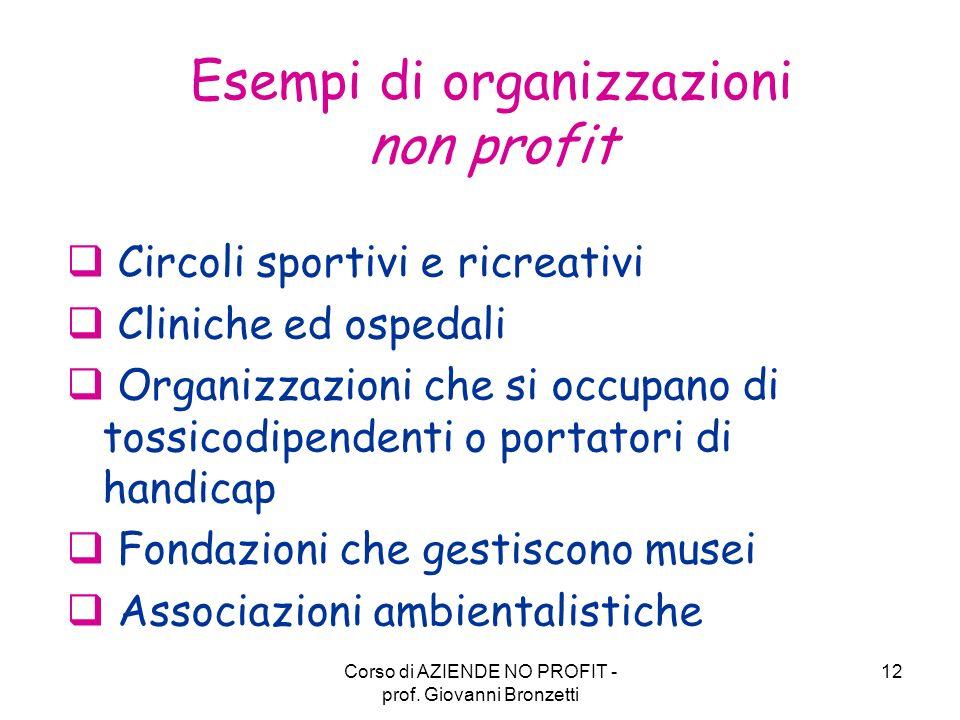 Esempi di organizzazioni non profit