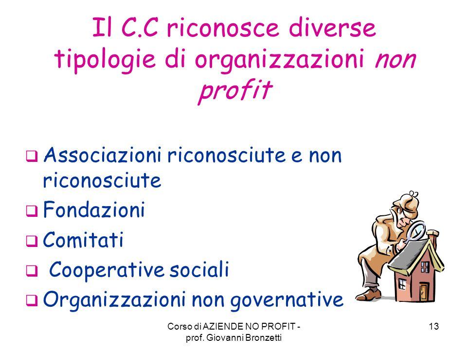 Il C.C riconosce diverse tipologie di organizzazioni non profit