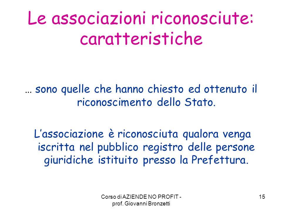 Le associazioni riconosciute: caratteristiche