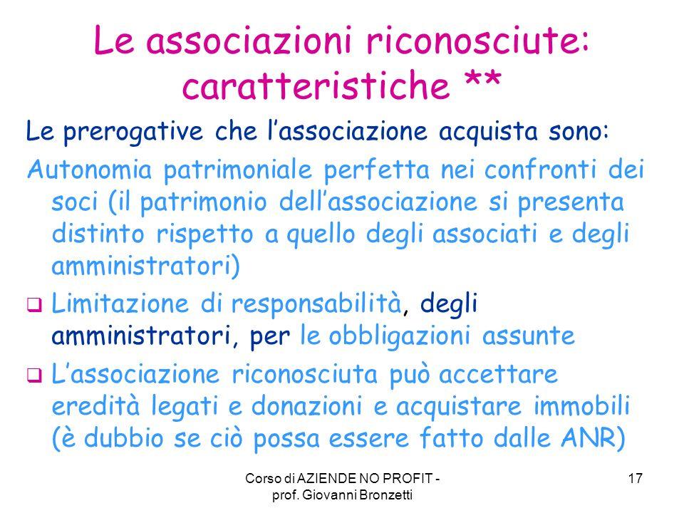 Le associazioni riconosciute: caratteristiche **