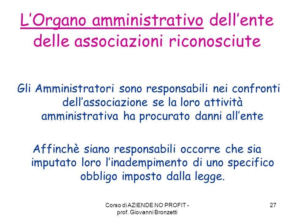 L'Organo amministrativo dell'ente delle associazioni riconosciute