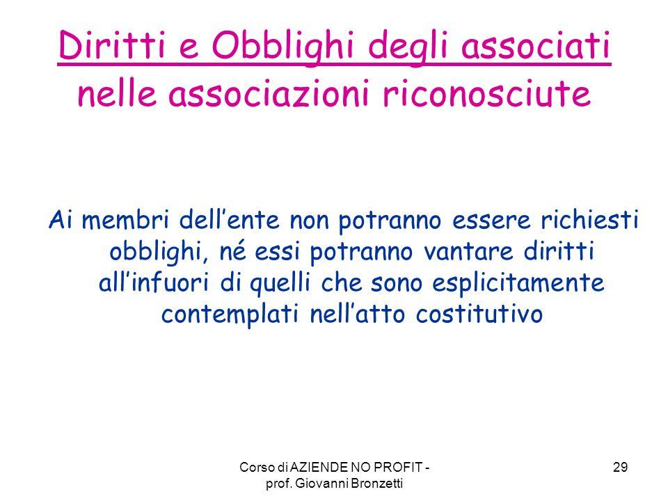 Diritti e Obblighi degli associati nelle associazioni riconosciute