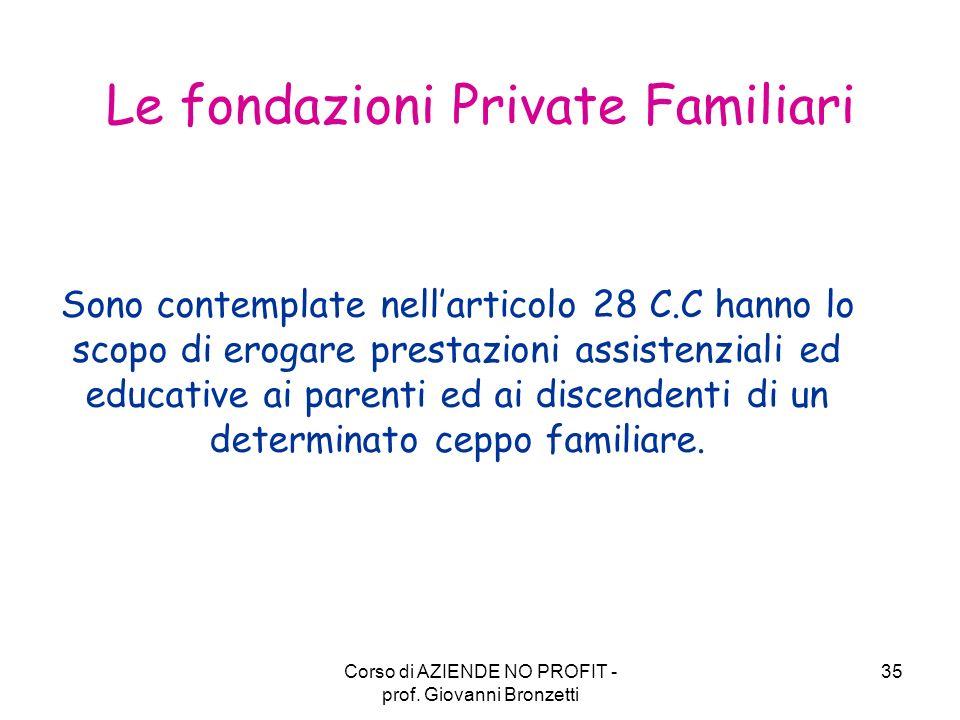 Le fondazioni Private Familiari
