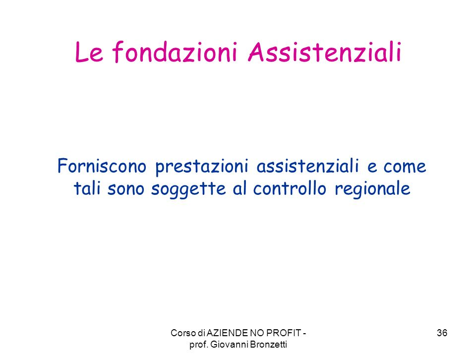 Le fondazioni Assistenziali