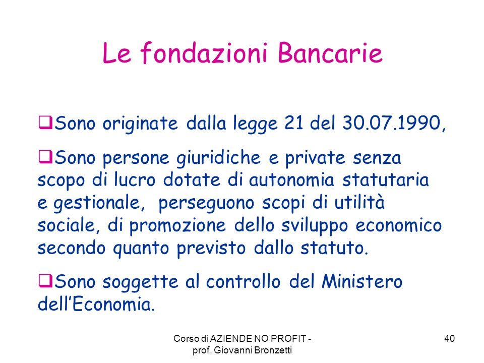 Le fondazioni Bancarie