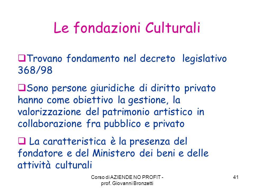 Le fondazioni Culturali
