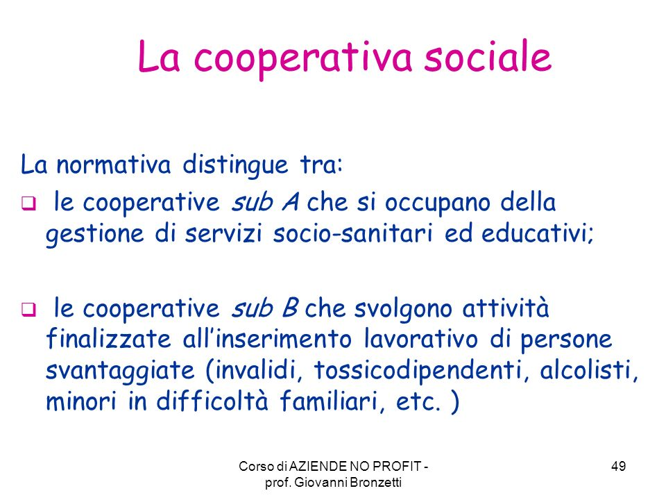 La cooperativa sociale