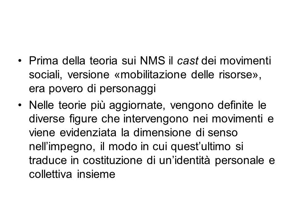 Prima della teoria sui NMS il cast dei movimenti sociali, versione «mobilitazione delle risorse», era povero di personaggi