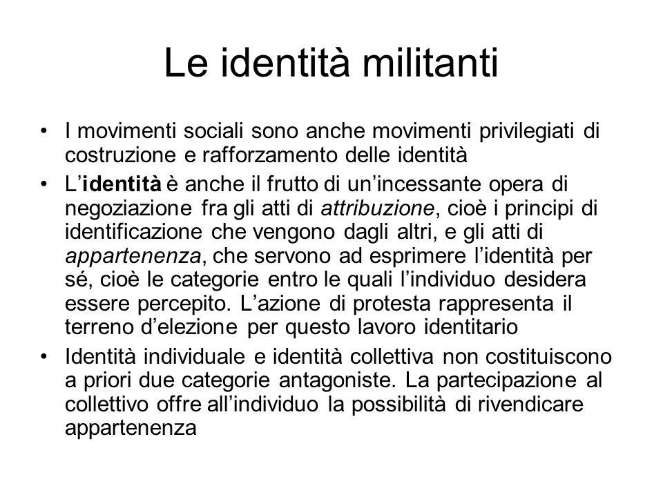 Le identità militanti I movimenti sociali sono anche movimenti privilegiati di costruzione e rafforzamento delle identità.