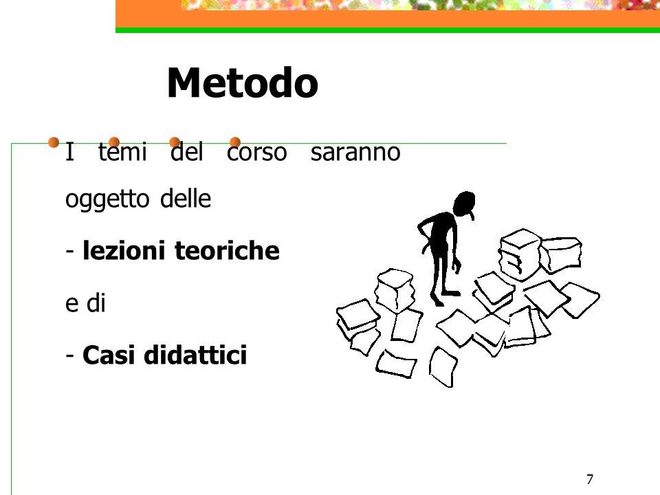 Metodo I temi del corso saranno oggetto delle - lezioni teoriche e di