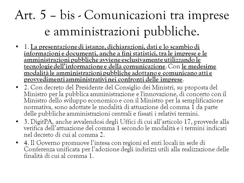 Art. 5 – bis - Comunicazioni tra imprese e amministrazioni pubbliche.