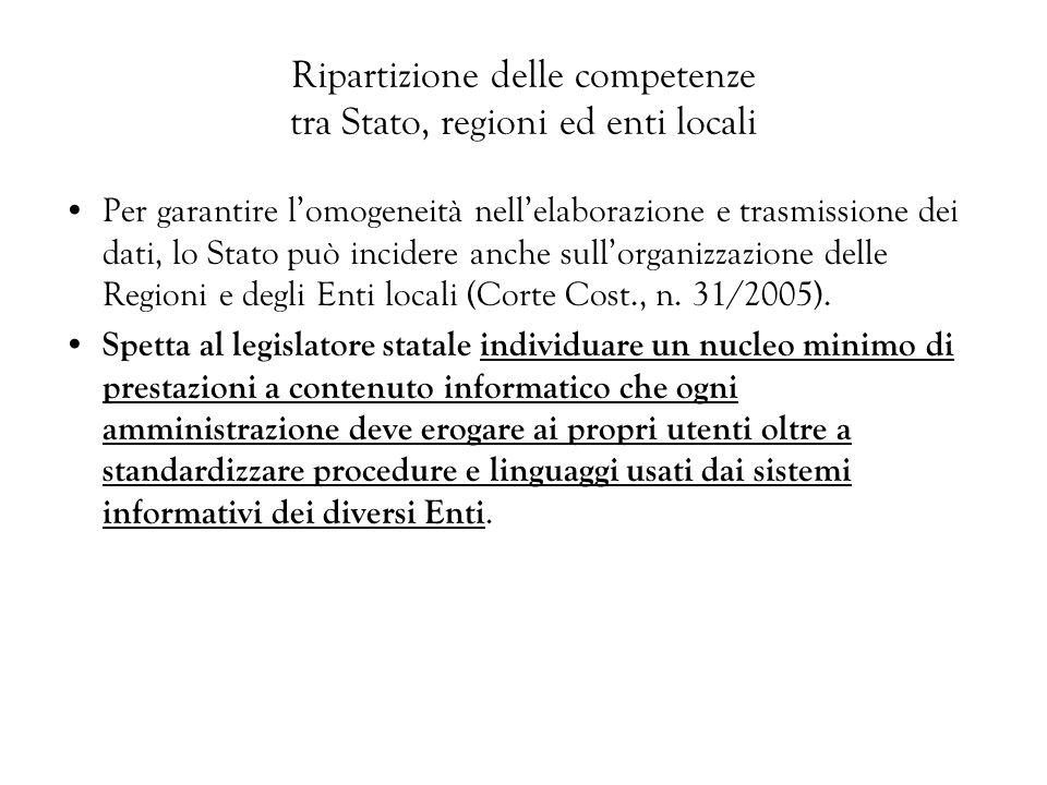 Ripartizione delle competenze tra Stato, regioni ed enti locali