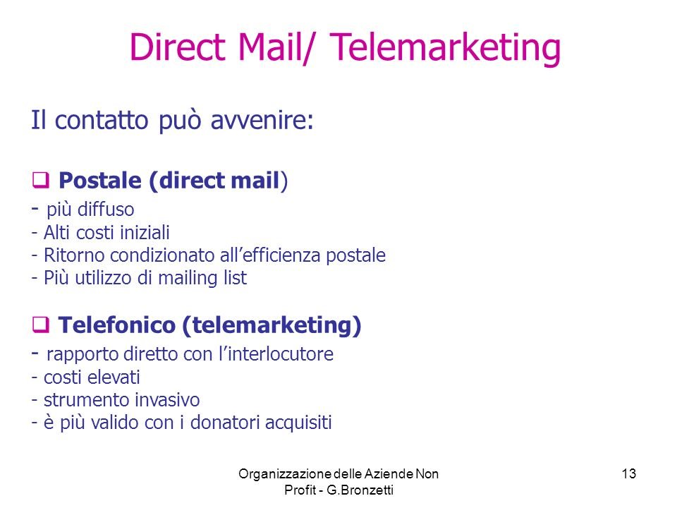 Direct Mail/ Telemarketing