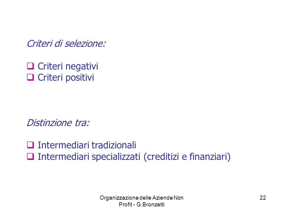 Organizzazione delle Aziende Non Profit - G.Bronzetti