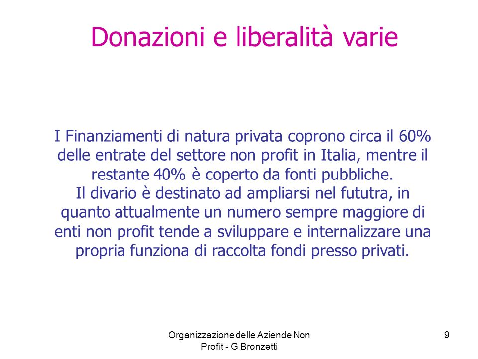 Donazioni e liberalità varie