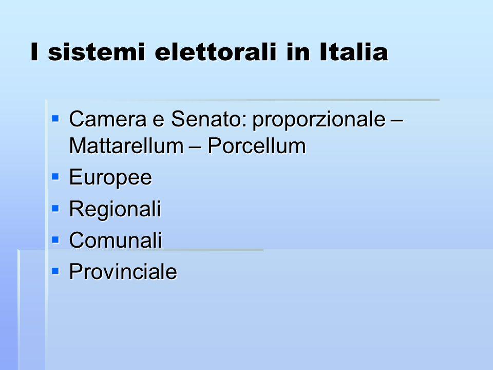 I sistemi elettorali in Italia