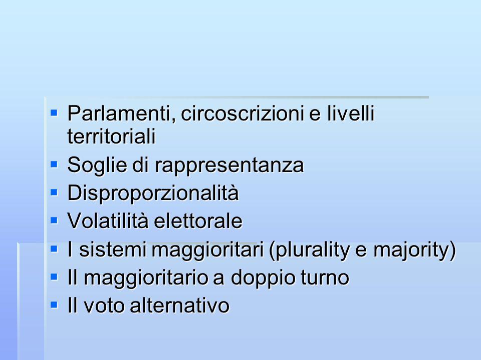 Parlamenti, circoscrizioni e livelli territoriali