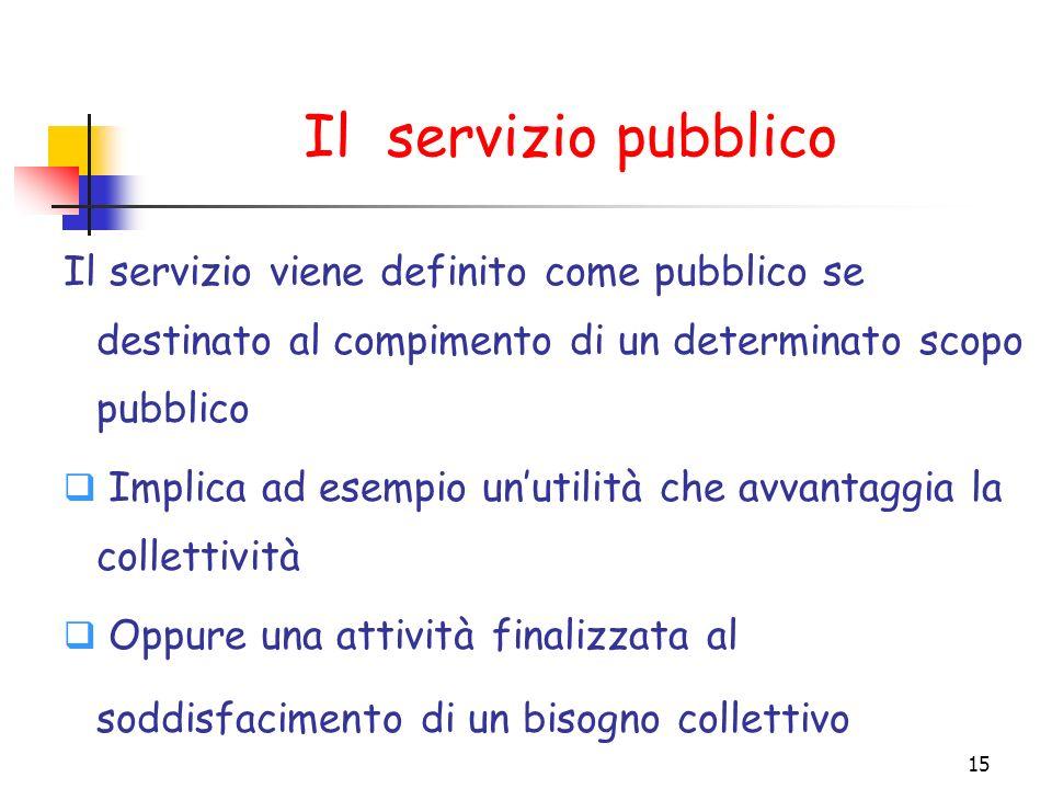 Il servizio pubblico Il servizio viene definito come pubblico se destinato al compimento di un determinato scopo pubblico.