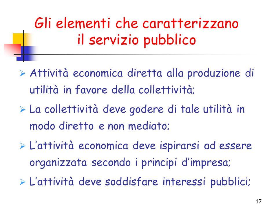 Gli elementi che caratterizzano il servizio pubblico